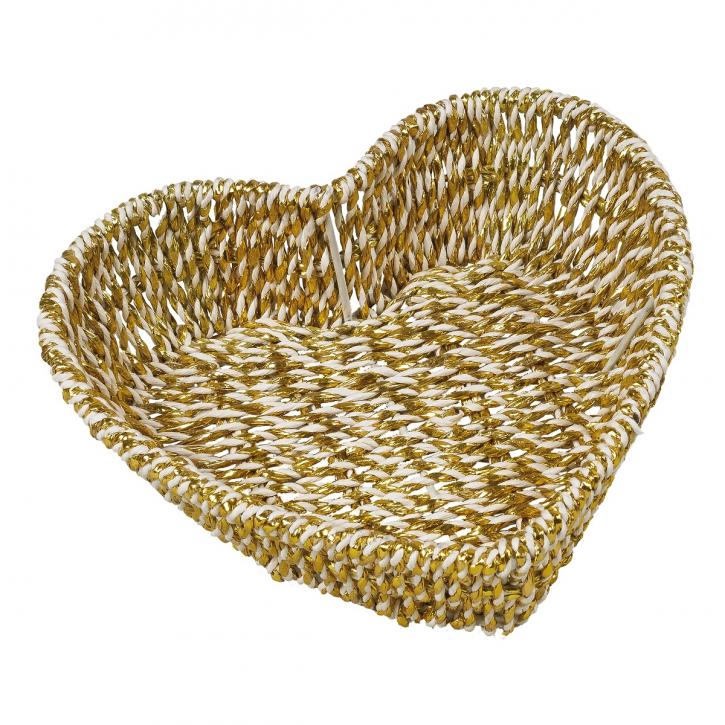 Schalenkorb herzförmig, weiß/gold