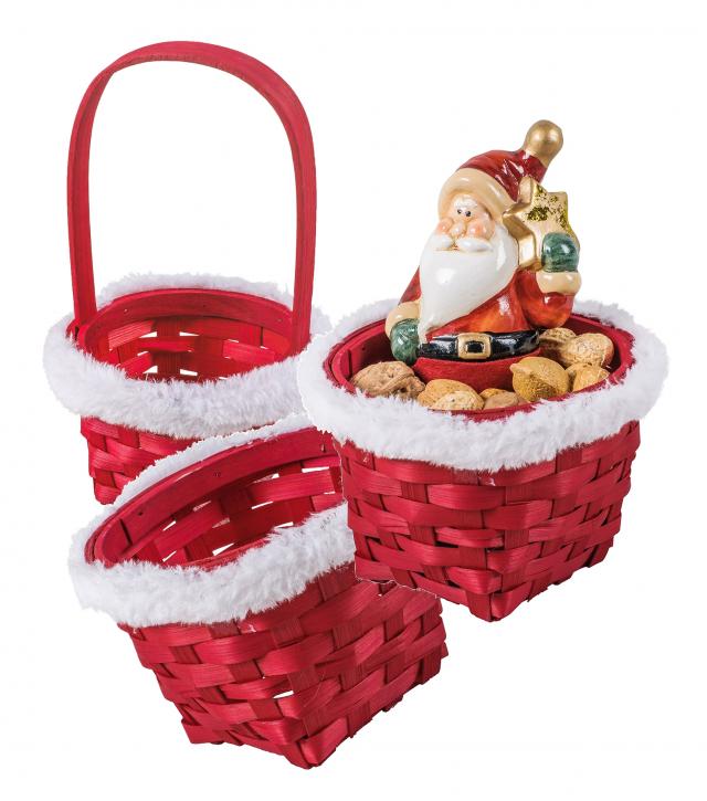 Weihnachtsset Nikolaus rund, rot, 3er Set