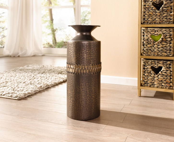 Vase 'Blätterband', rund, braun