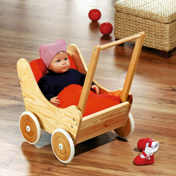 Holz-Puppenwagen