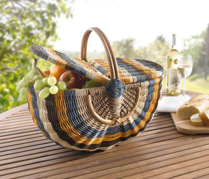 Picknickkorb oval, mehrfarbig