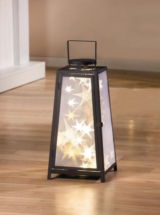 Metall-Laterne 'Sternenlicht', quadratisch, schwarz