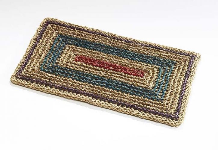 Fußmatte rechteckig, hellbraun/mehrfarbig