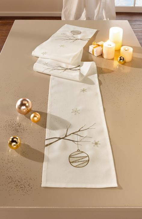 Tischband 'Weihnachtszweige', rechteckig, weiß