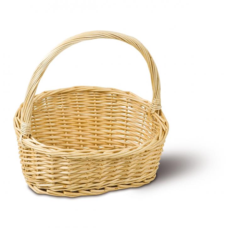 Geschenkkorb oval/schräg, weiß/natur