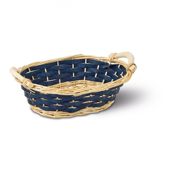 Schalenkorb oval, natur/blau