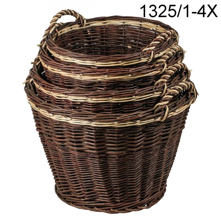 Holzkorb rund, dunkelbraun