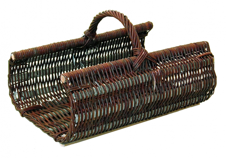 Kaminholzkorb, Holzkorb aus Vollweide, 55x39, H 23/30 cm