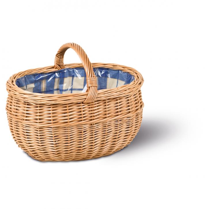 Einkaufskorb oval, braun/blau