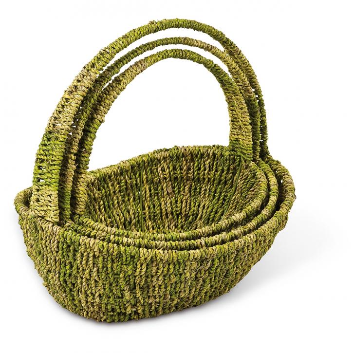 Henkelkörbe im 3er-Set, oval, grün