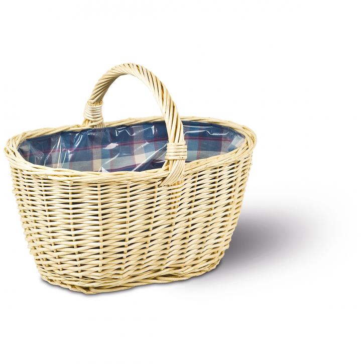 Einkaufskorb oval, natur/blau