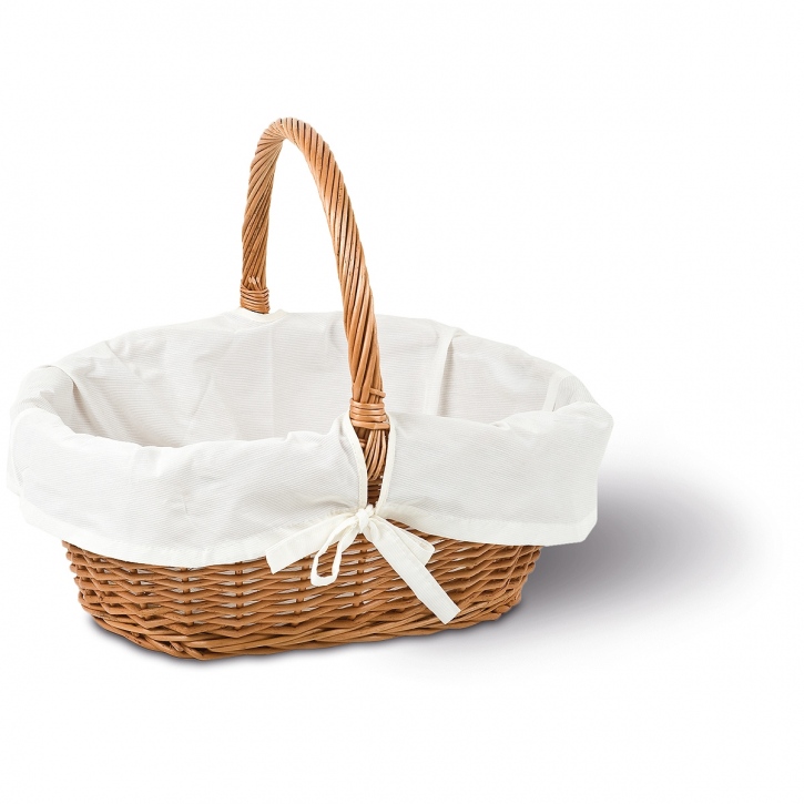 Einkaufskorb oval, weiß/braun