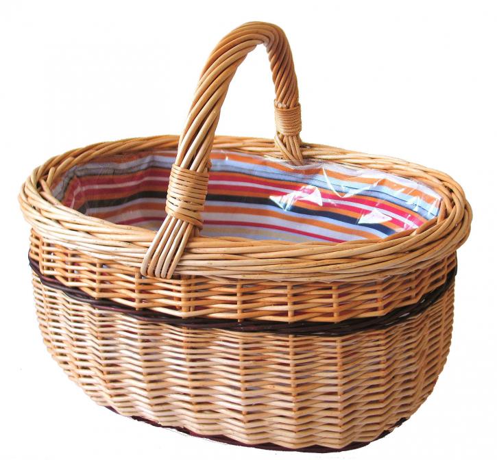 Einkaufskorb oval, hellbraun/mehrfarbig