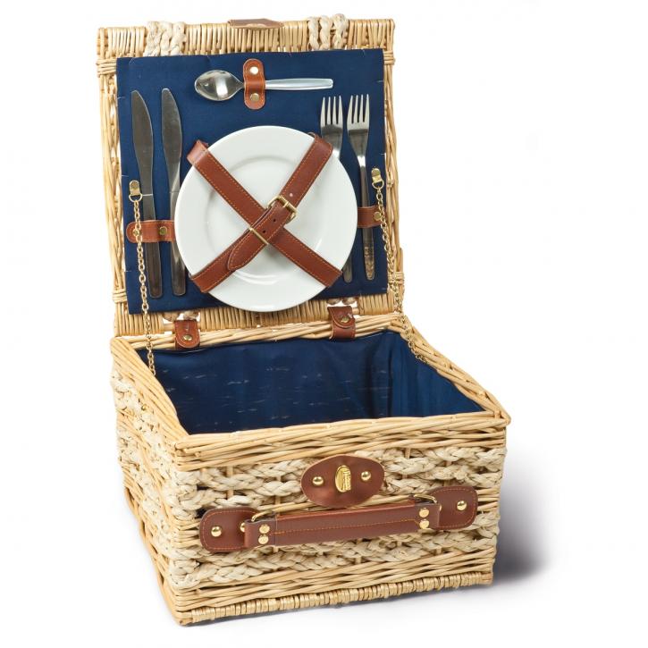 Picknickkorb quadratisch, natur/hellbraun/blau