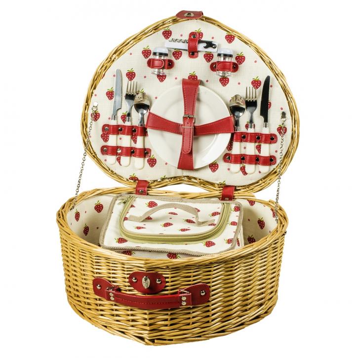 Picknickkorb herzförmig, braun