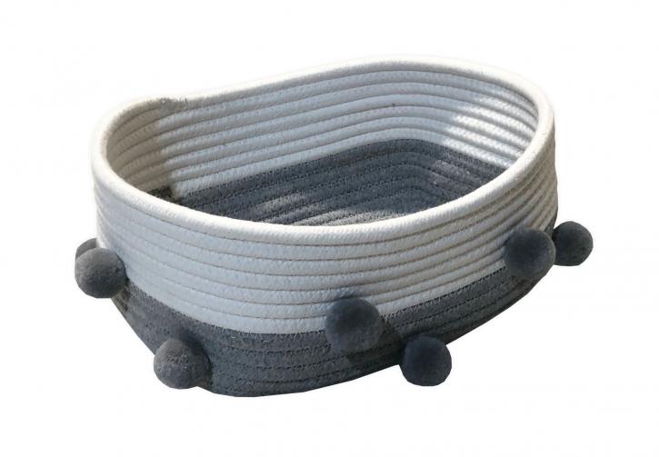 Schalen aus Stoff, weiß/grau, 3er Set