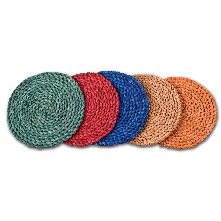 Tisch-Unterlagen rund, hellbraun/blau/grün/orange/rot