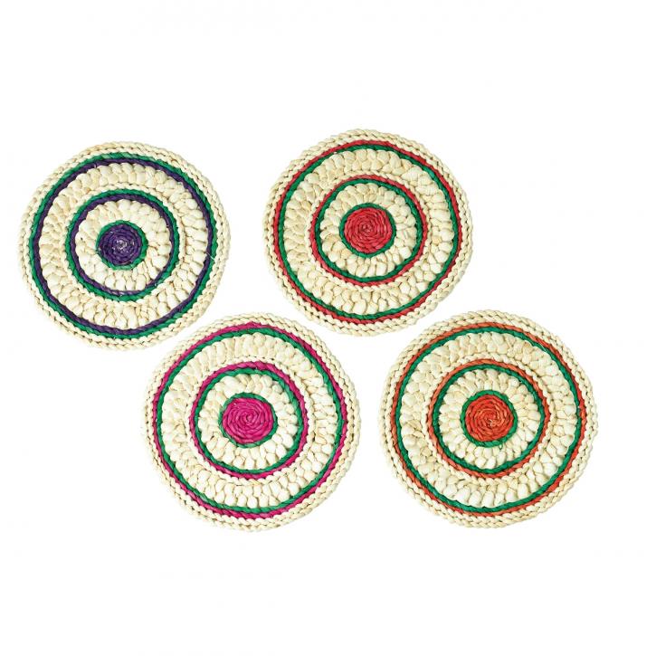 Untersetzer rund, natur/mehrfarbig