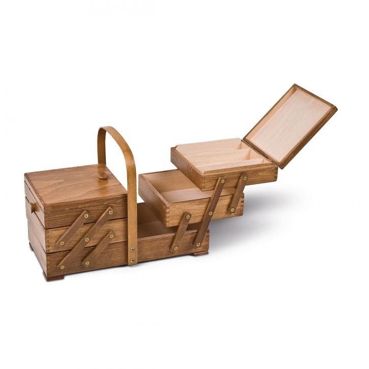 Holznähkasten, rechteckig, aus-