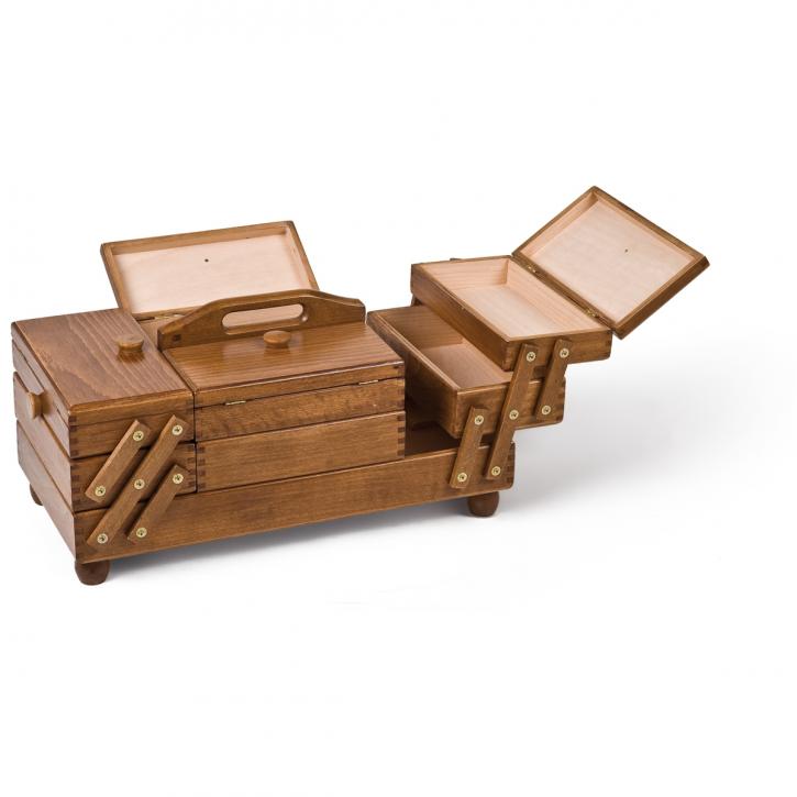 Holznähkasten rechteckig, braun