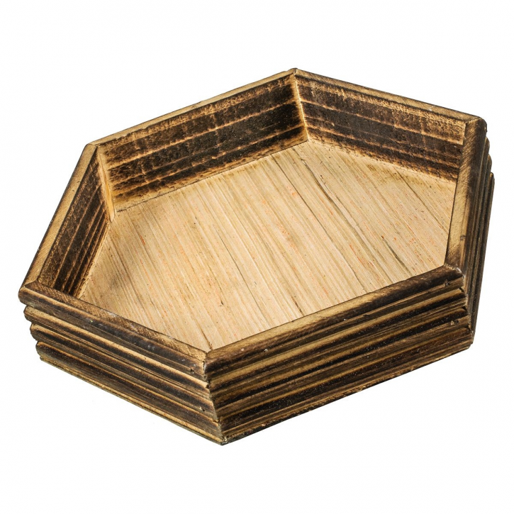 Holzschale, sechseckig