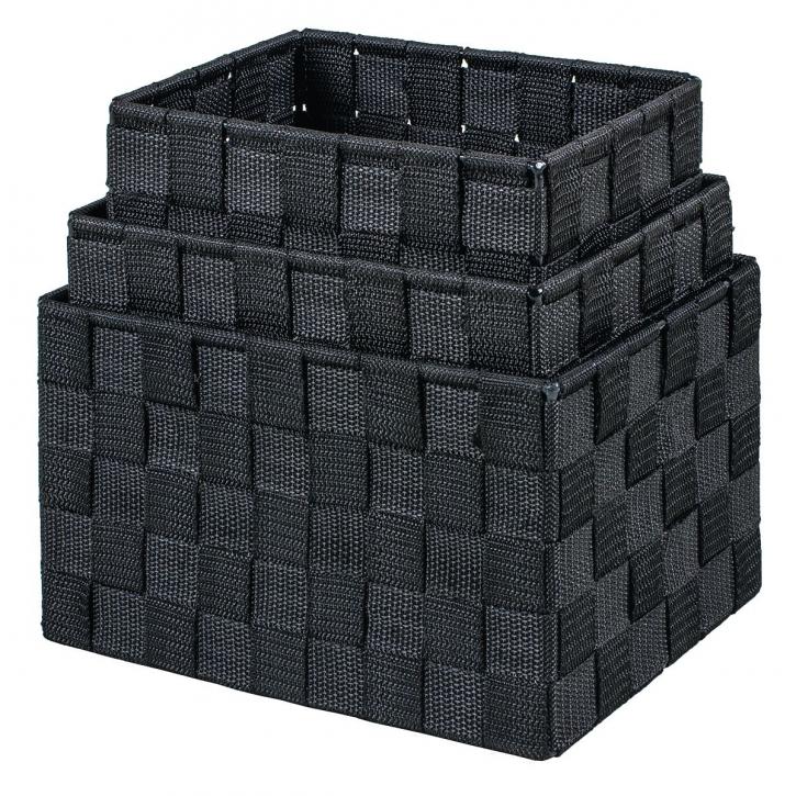 Regalkörbe rechteckig, schwarz, 3er Set