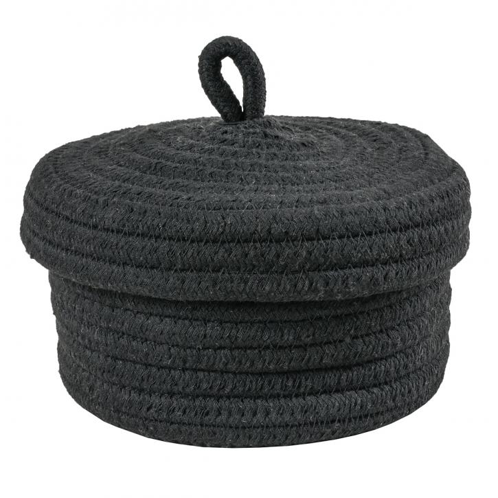Dose aus Baumwollkordeln, rund, schwarz