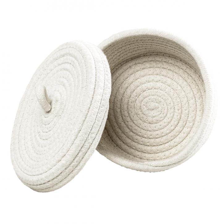 Dose aus Baumwollkordeln, rund, weiß