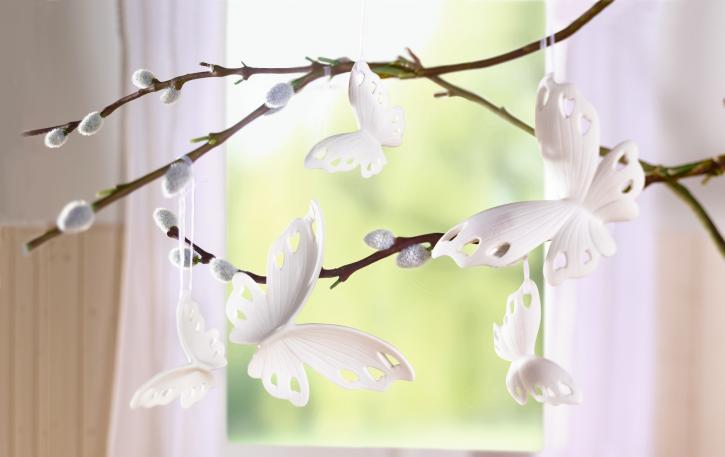 Schmetterling-Hänger 'Weiß', 5er Set